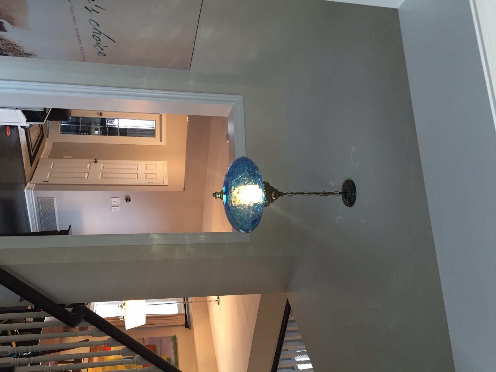 Antique blue glass chandelier